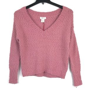 Yes Lola Pink Sweater V-Neck Slouchy Top NWT M